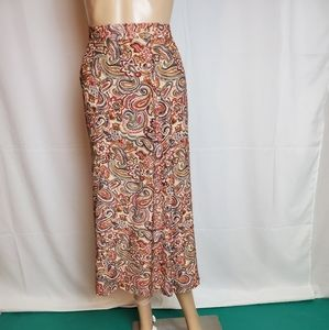 Talbots Petites Brown Paisley Skirt in a size 14 P